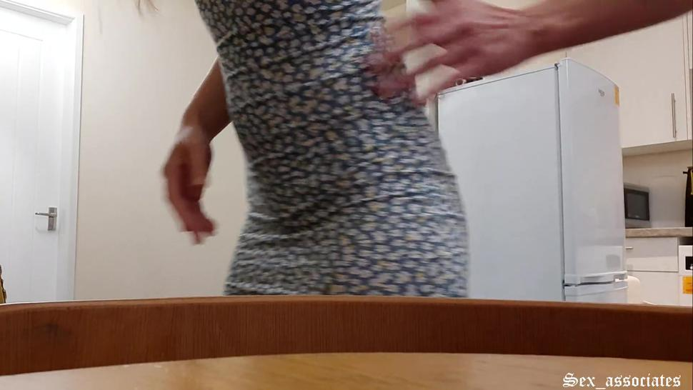 Quickie, silent doggy on the table in the kitchen while her parents are in the next room. Cumshot