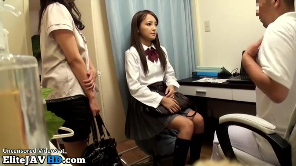 Japanese cutest teen in uniform needs to relax