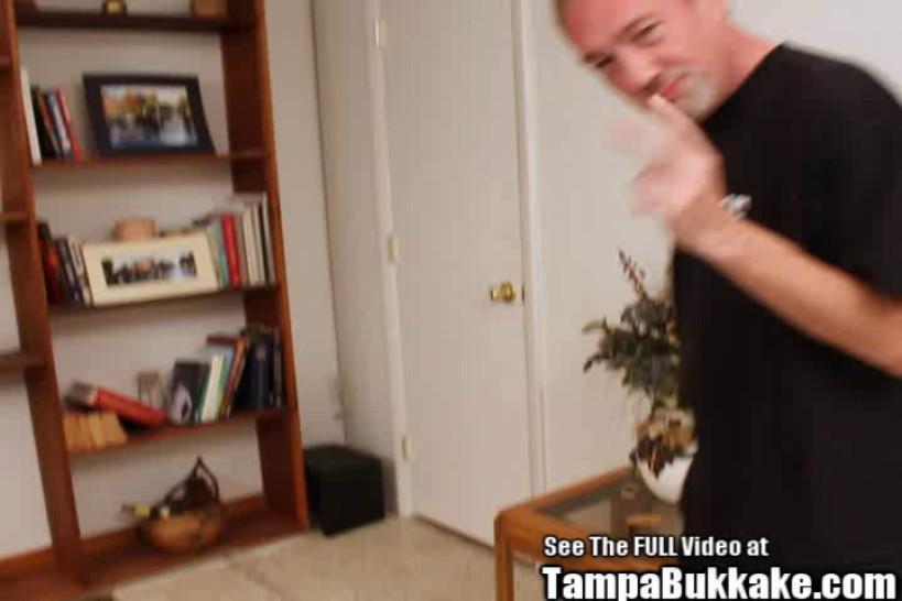 TAMPA BUKKAKE - Bondage Blonde Squirter Bukkake Swallower Licks Ass
