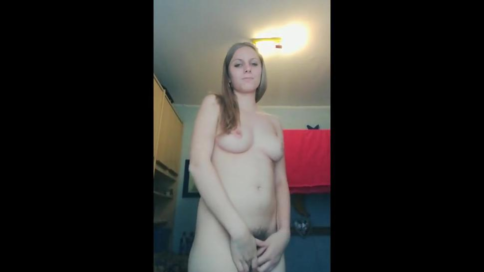 Lovely blonde showing her very hairy pussy