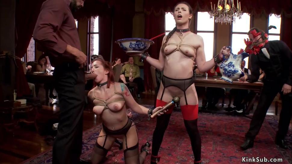 Brunette takes huge dick at bdsm party