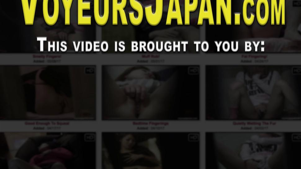 Solo Asian brunette babes get spied on