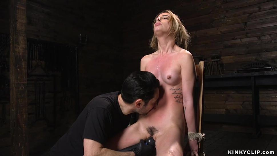 Bound babe gets balls in pussy