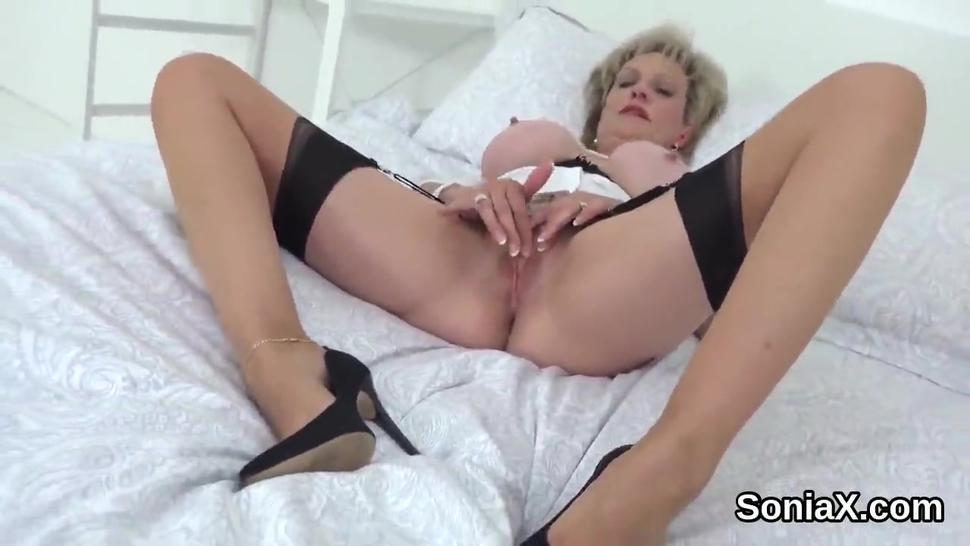 Unfaithful british milf lady sonia pops out her monster boobs