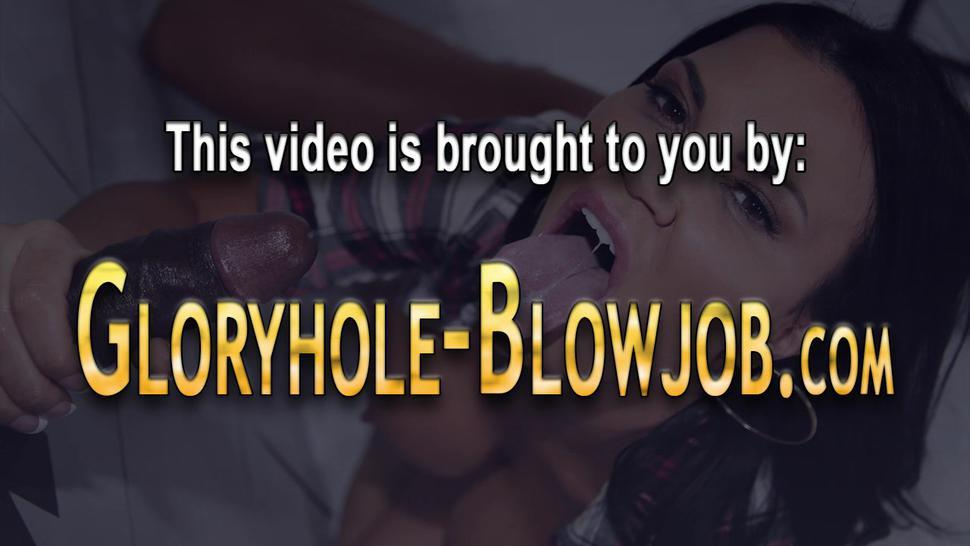 Busty ethnic babe at gloryhole swallows cum
