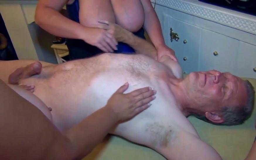 Big boobed matures give a joint blowjob