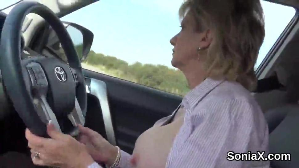 Unfaithful british mature lady sonia flashes her big puppies