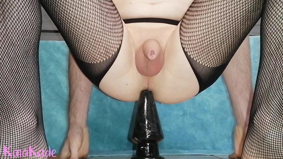 Sissy Takes Huge Butt Plug and Gapes Her Hole