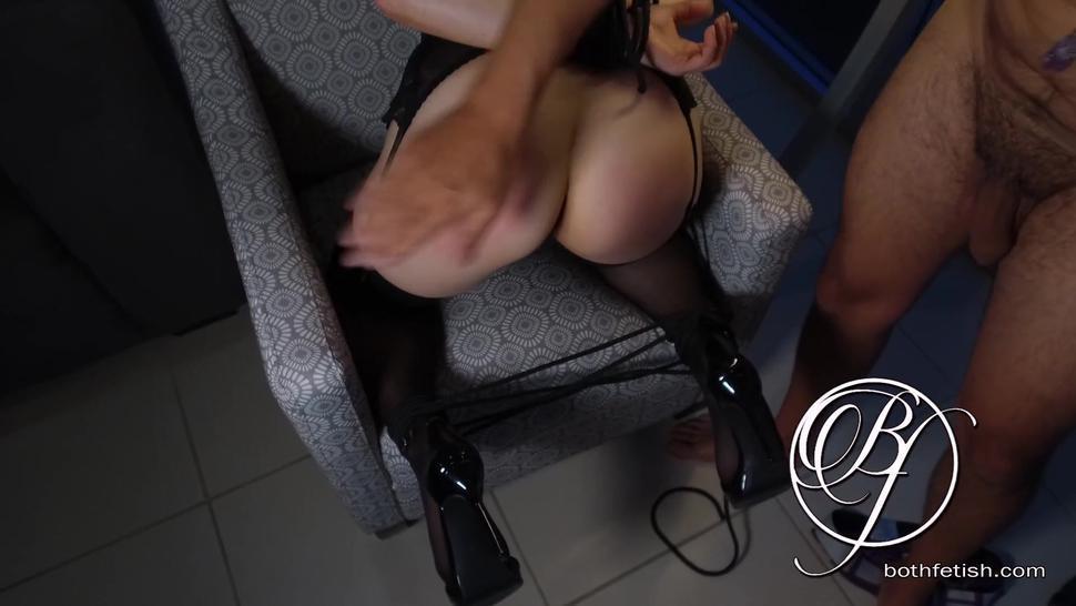 DOUBLE cumshot on my spanked slave ass, pantyhose, high heels, cum fetish