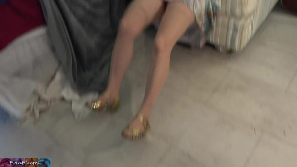 Stepmom is stuck under the ottoman and lets her stepson screw her