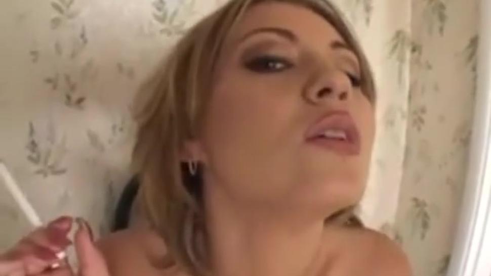 Short smoking fetish blowjob clip featuring sexy blonde Milf