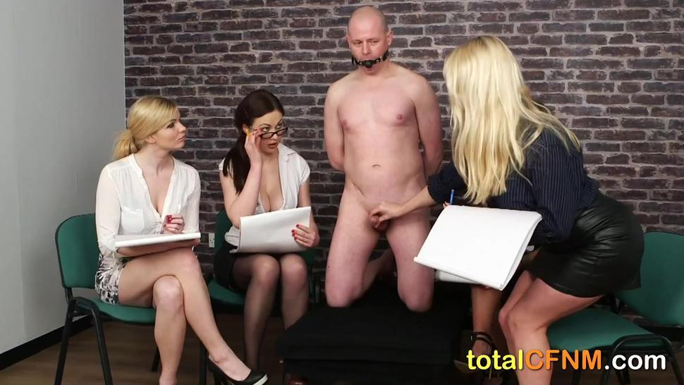 Group of sexy ladies enjoying CFNM sex