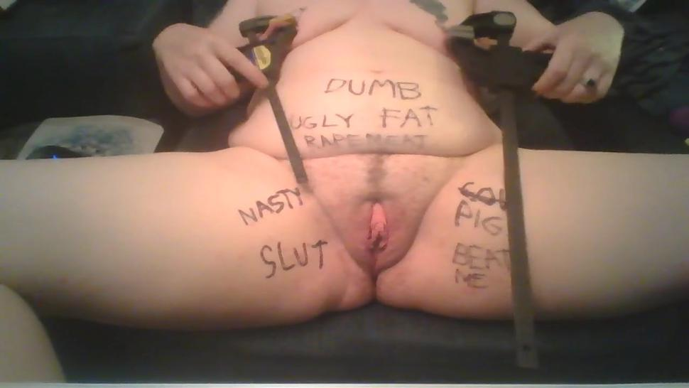 Bitch Humiliating Herself Hardcore with Food in Pussy and Heavy Tit Clamps with Body Writing BDSM