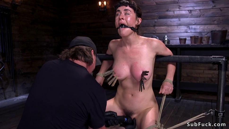 Olive glass gets crucified and left to suffer, BDSM bondage