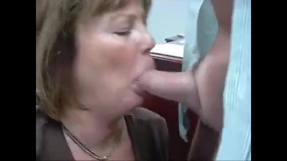 Mature secretary sucking cock and get facial