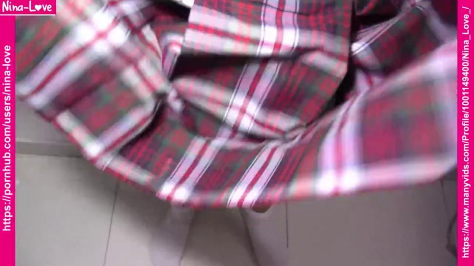 Schoolgirl pussyjob, handjob & cum in panties -Wearing wet panties with cum