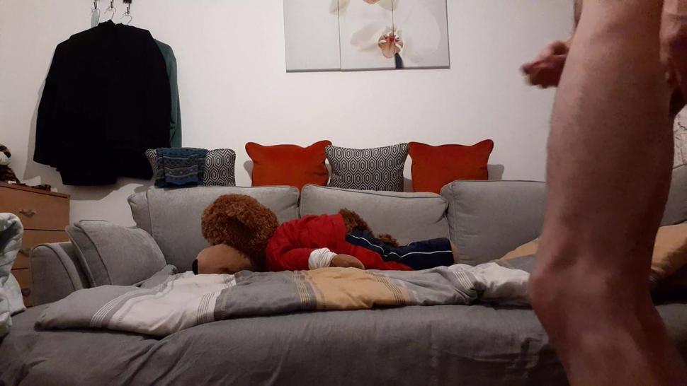 Very skinny boy fucks his teddy bear hard on his bed