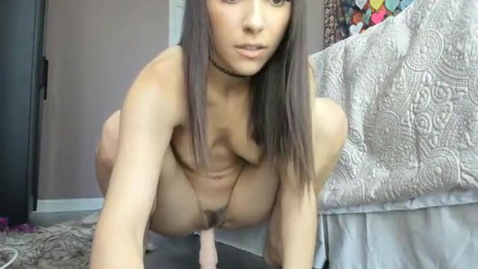 naughty amateur riding dildo on webcam and she loves it