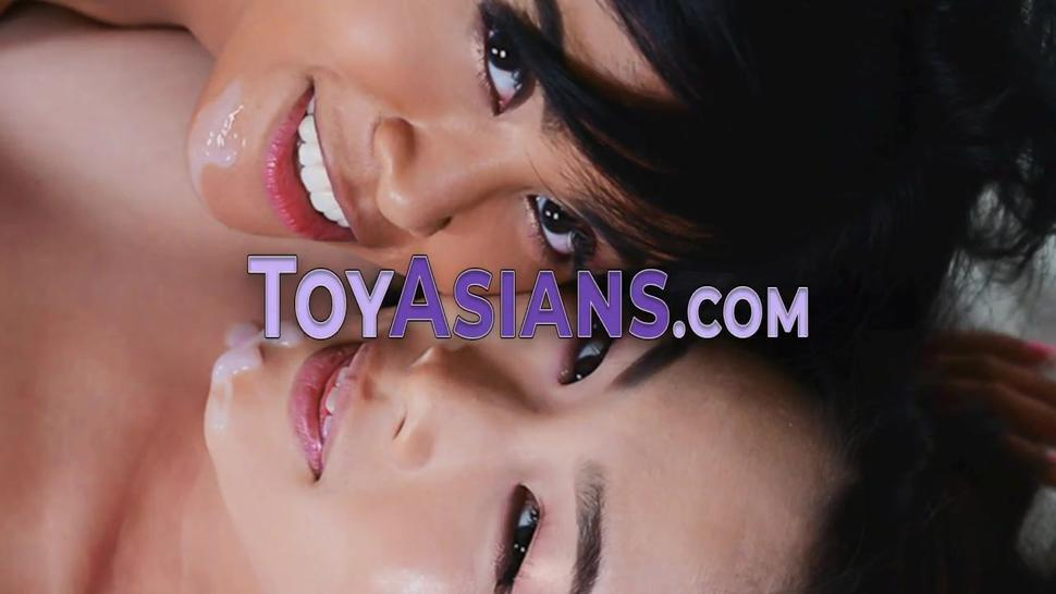Fingered little asian teen gobbles and rides