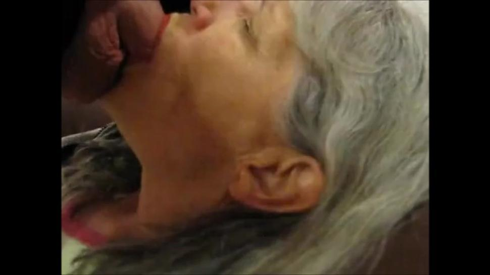 Beautiful grandma taking cock in mouth and swallow cum