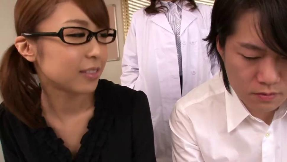 ERITO - Japanese MILFs in lingerie punish dude in doctors office