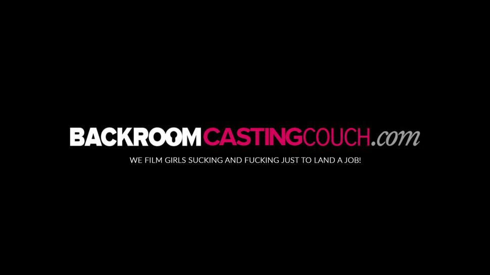 BACKROOM CASTING COUCH - Young babe Rachel shows off nipple piercing in casting fuck