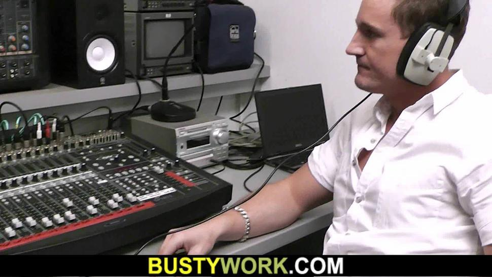 BUSTY WORK - Fat pussy fingering and titjob at work