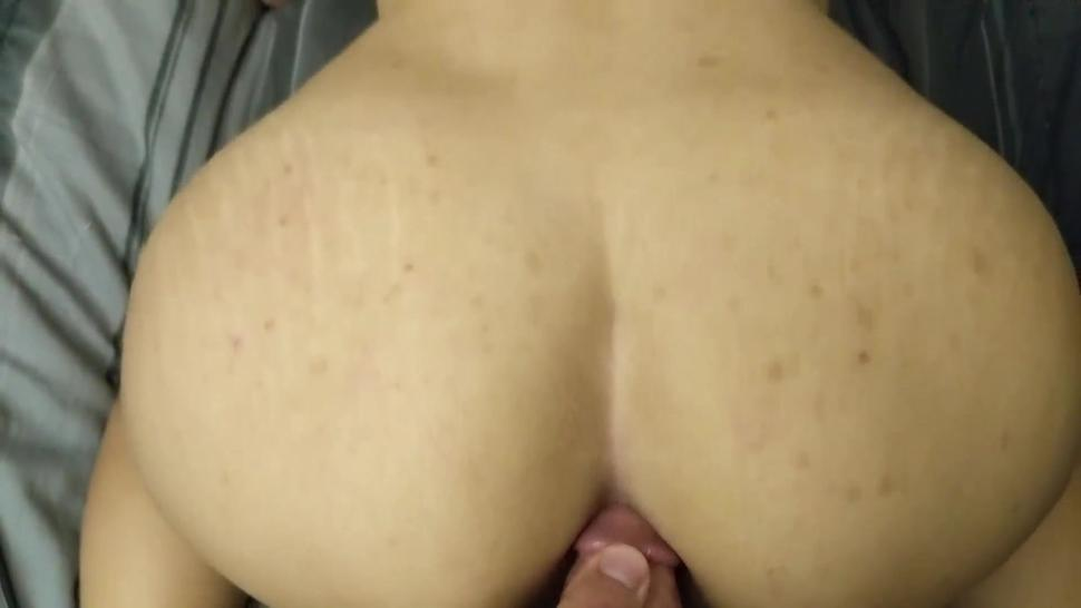 Taking his big dick in my gaping ass with a vibrator in my pussy