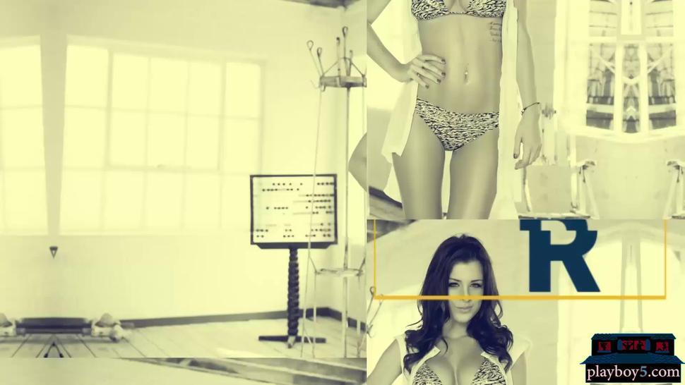 British big boobs MILF model Rae striptease for Playboy