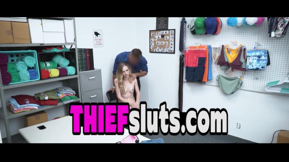Floppy titted skinny inked teen thief punish fucked