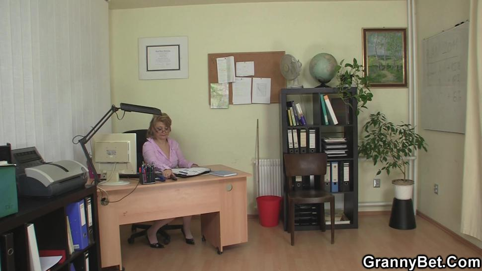 GRANNYBET - Hot office woman in stockings rides his big dick