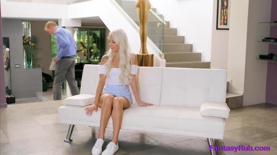Horny blonde bitch pussyfucked by her client