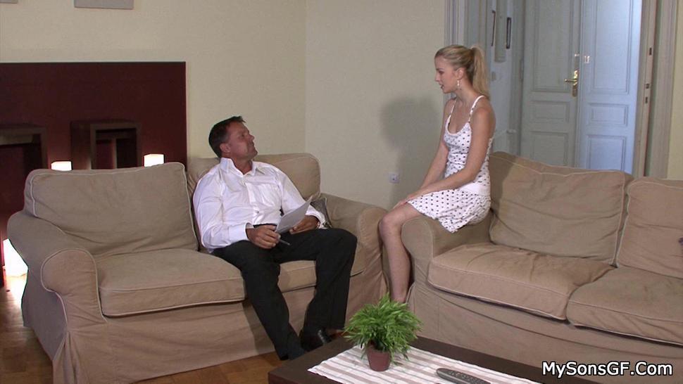 MY SONS GF - His cheating girlfriend blonde seducing older man