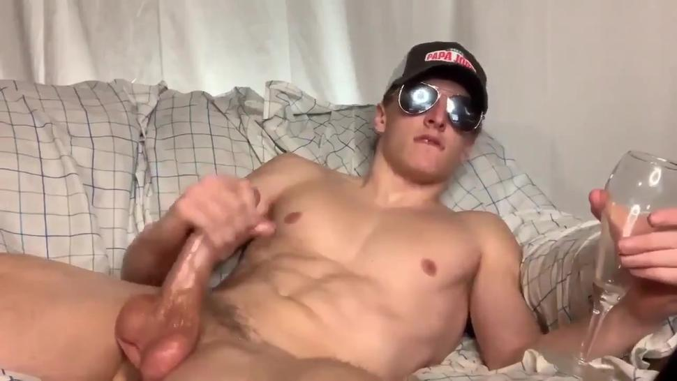 muscle man pumps a load and drinks it