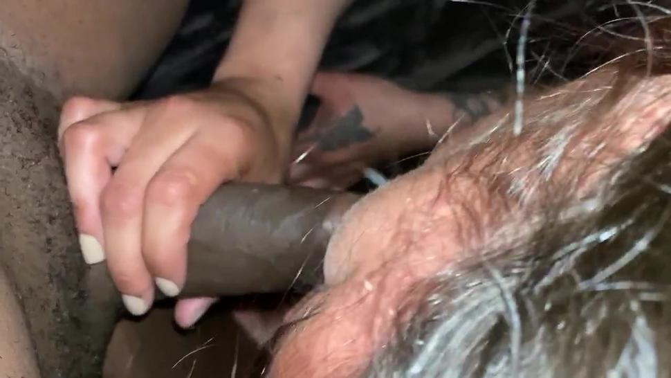 Slut wife sucking BBC for husband in hotel while he cuckold in watch