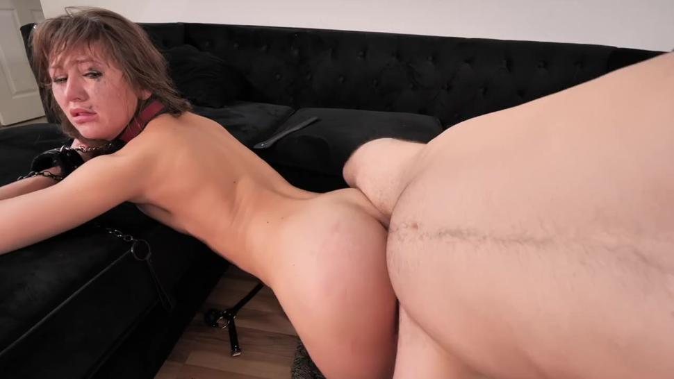 Slutty Sex Slave Gets Her Holes Used & Pissed On