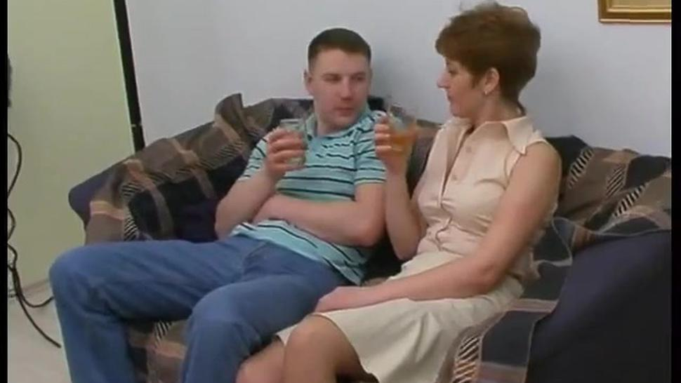 Hot Russian Mature Sex With Young Guy On Sofa