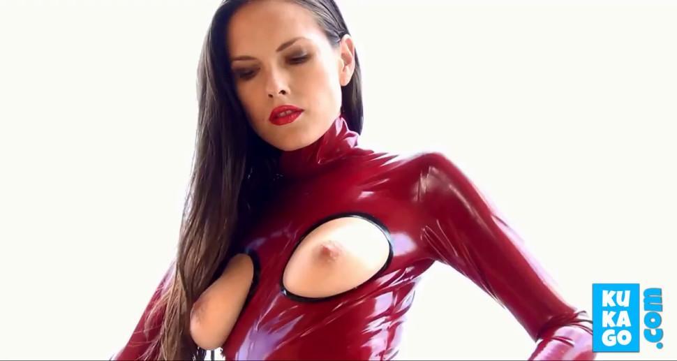 Masturb in Red Latex Catsuit