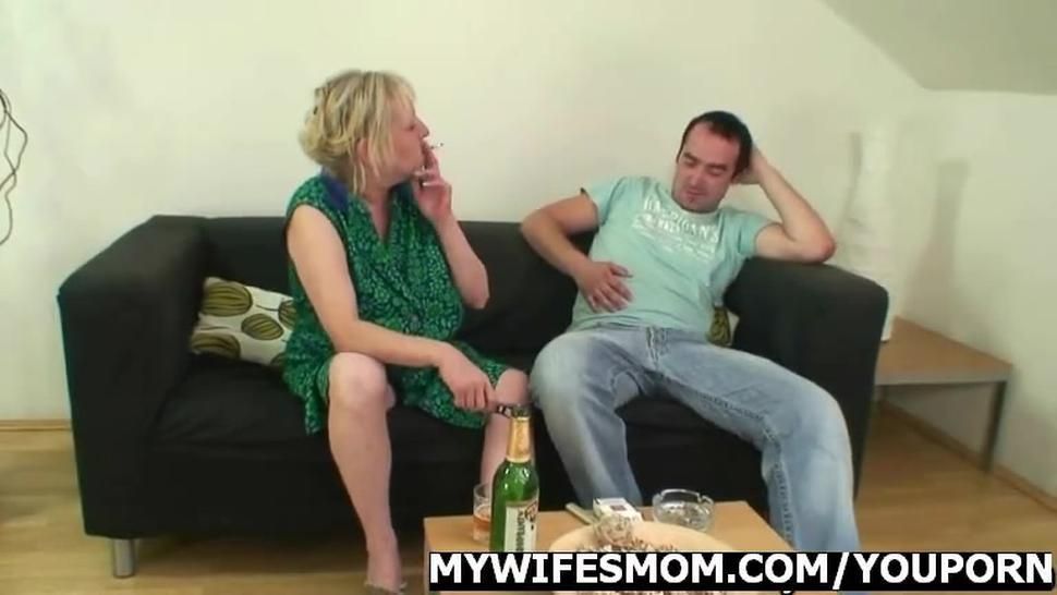 Cock hungry mother jumps on her son-in-law cock