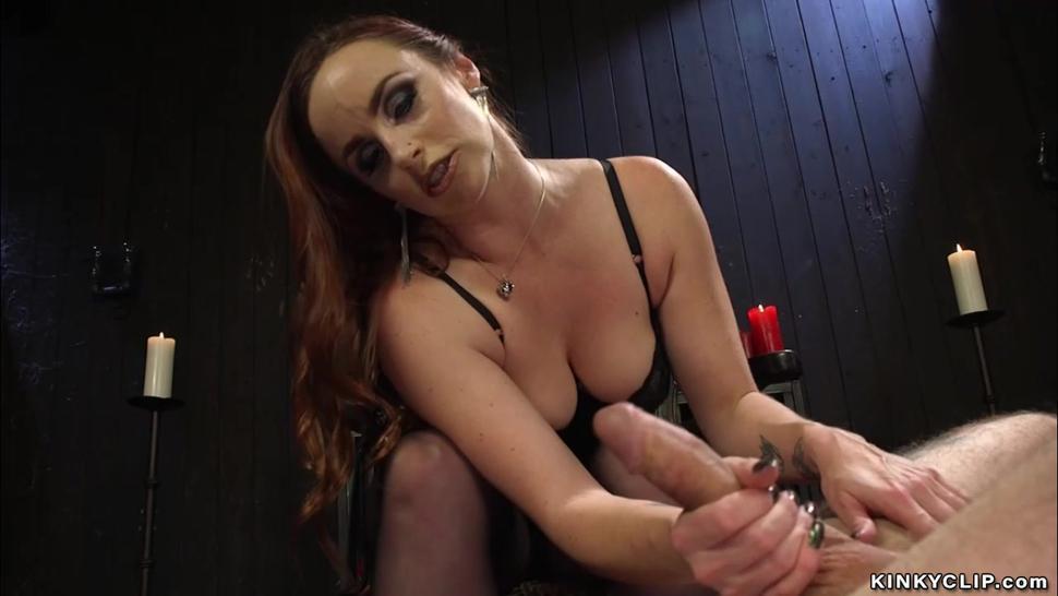 Mistress pegging tattooed man slave