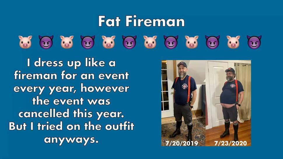 Fat & Big Bellied Daddybear Fireman got too fat for his uniform