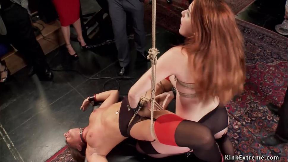 Lesbians made licking at bdsm party