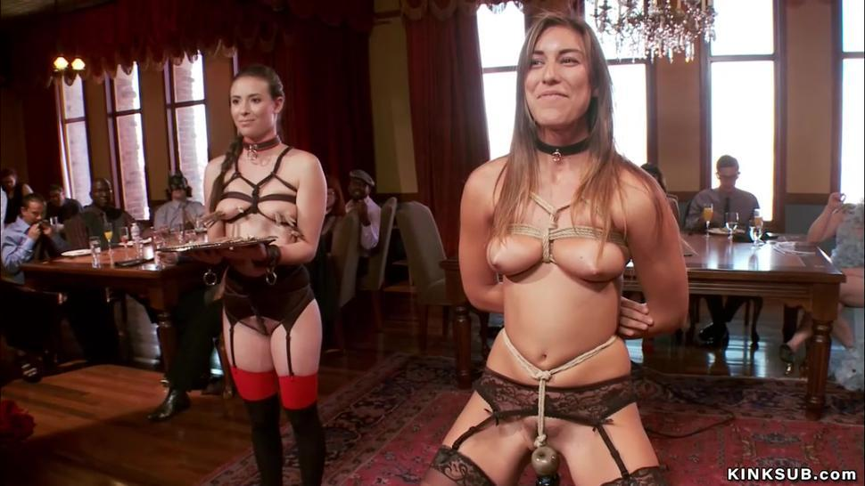 Slaves whipped and anal banged bdsm