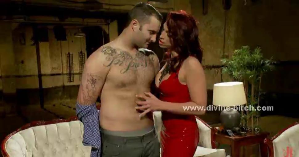 Pervert mistress in red leather dress riding hard her man sex sla