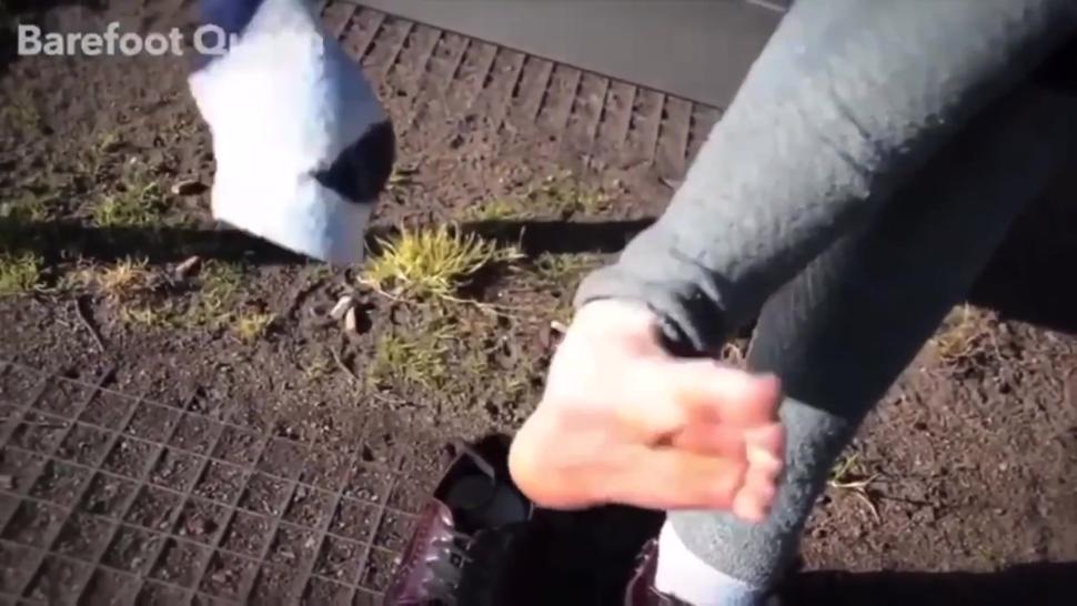 Spanish girl feet tickle in public
