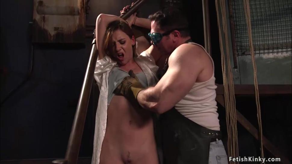 Big cock tradesman fuck babe in bondage