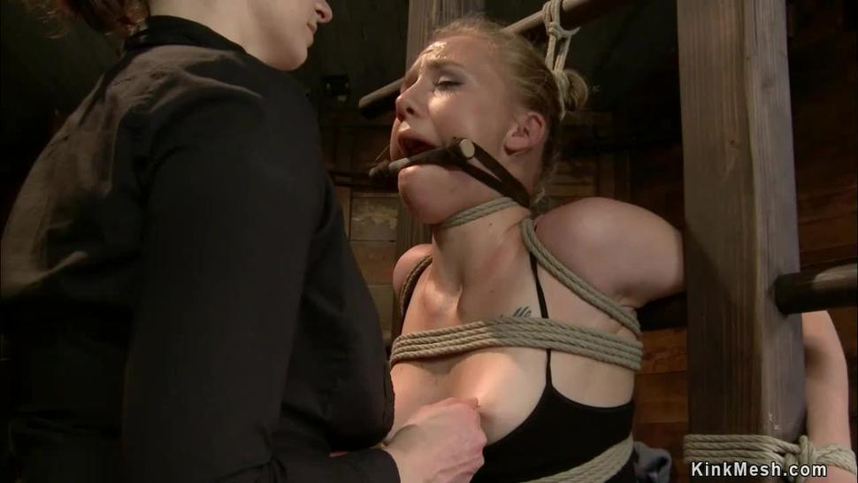 Blonde in back arch upside down bondage