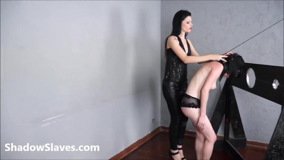 Merciless brazilian bdsm and lesbian whipping of 19yo amateur slave girl Demi in hardcore female domination and spanking by Sout