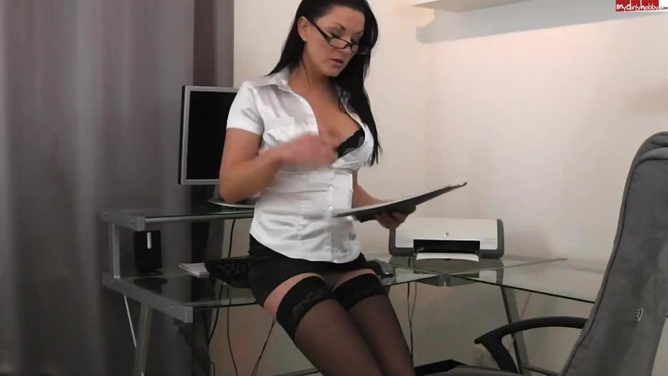 Secretary wearing Satin Blouse, Skirt and Stockings Fucked on Office Chair