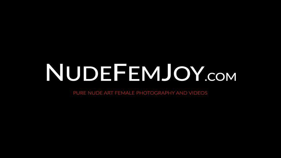 NUDE FEMJOY - Beautiful babe in stockings Josephine teasing her wet pussy